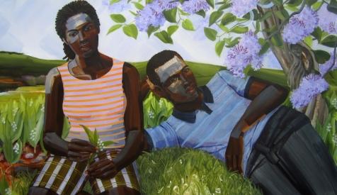 6. Resplendent Flame II (First Love, Ish & Isha), acrylic on mylar, 40x68, 2015, $6500