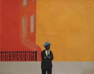 1. Blue Hat, acrylic on paper, 24x30, $4500, 2005