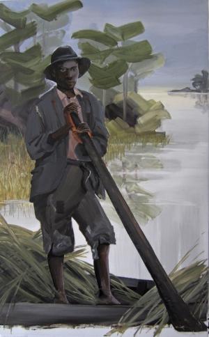 1. Untitled (Salt, boy in boat with grass) acrylic on mylar, 2013, 40x25, $2700