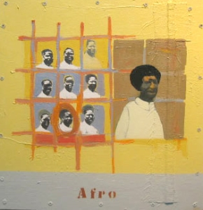 10. Afro, mixed media on wood (framed), 21x21, 2003, $4300