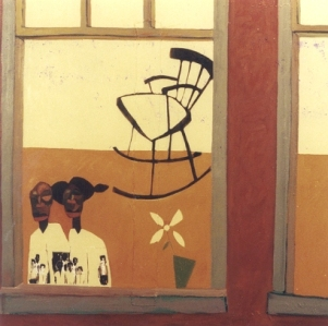 11. Grand Ma's Room II (Everyday People Series) (framed), 40x40, mixed-media on canvas, 2000, $8500