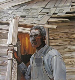 2. Untitled (Salt, man & shack), acrylic on mylar, 42 1:2x40, 2013, $3500