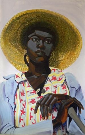 3. Untitled (Salt, woman with big hat), acrylic on mylar, 62x40, 2013, $5500