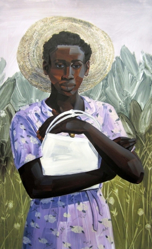4. Untitled (Salt, woman with purse), acrylic on mylar, 40x25, 2013, $3200