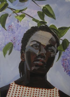 7. Greg Breda, Untitled (Woman looking up) 25_X18_, acrylic on mylar, 2015