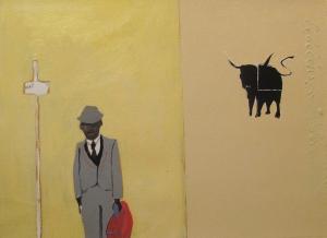 8. Wall Street, silkscreen & acrylic on paper, 16x20, $2200, 2006