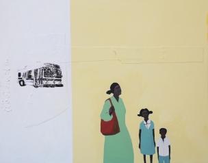 Busing #1, silkscreen & acrylic on canvas, 24x36, 2005, $5500