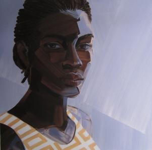 4. Untitled Head #13, acrylic on mylar, 18x18, $1800, 2014