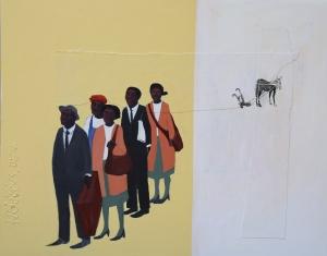 Monday Morning #1, silkscreen & acrylic on canvas, 24x36, 2005, $5800