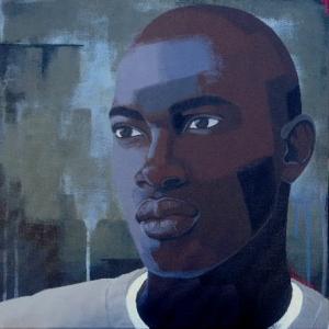 Untitled (Head #10), acrylic on canvas, 18x18, 2009, $1700 - breda
