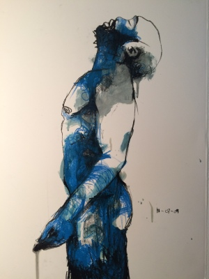 3. Steven, china marker, varnish & acrylic on paper, 30x22, 2012, $1450