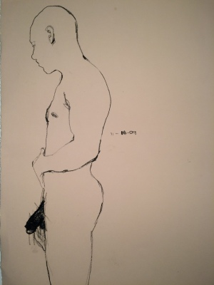 5. Melvin, china marker & shoe polish on paper, 30x22, 2011, $750