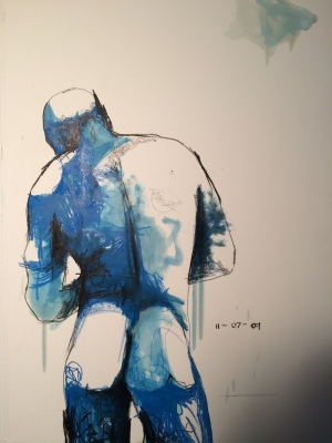 7. Clay, china marker, varnish & acrylic on paper, 30x22, 2012, $1450