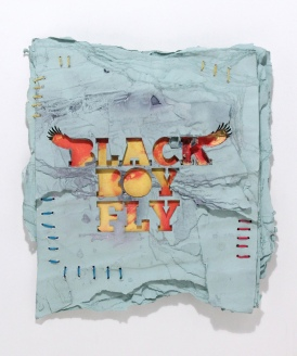 3-black-boy-fly-mixed-media-on-reclaimed-paper-hemp-thread-18x18-2016-3600