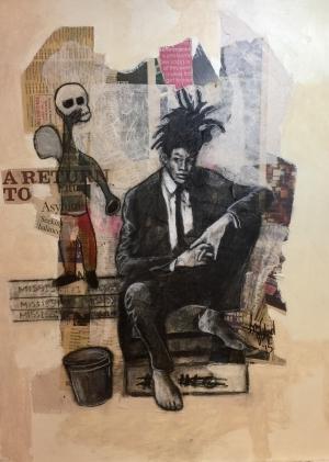 1. Basquiat, mixed media on wood, 21x30, 2016, $2000