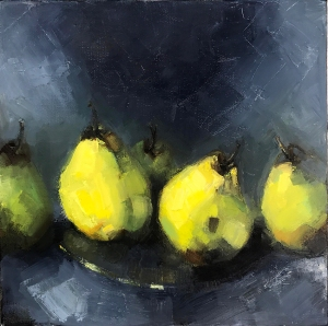 1. Simply Pears, oil on canvas, 12x12, 2017