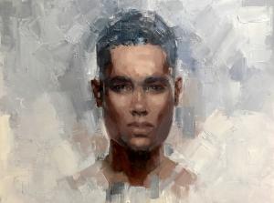 2. Purposed, (Everyday People series), oil on wood, 18x24, 2017