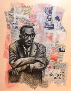 4. Ode to Charles White, mixed media on canvas, 16x20, 2016, $1600