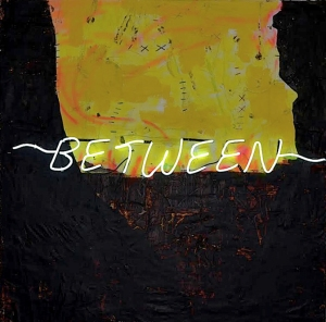 Between the Devil the Deep II, mixed media reclaimed paper on canvas with hemp thread and neon light, 72x72, 2017