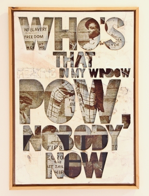 Pow, Nobody Now, mixed media on reclaimed paper, mdf., 42x31, 2014.jpg