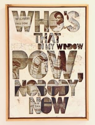 Pow, Nobody Now, mixed media on reclaimed paper, mdf., 42x31, 2014.jpg