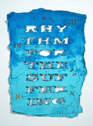 Rhythm for the Suffering (Blue), 2017, mixed media on reclaimed paper, hemp thread, 28 x 28 inches