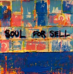 Soul for Sell,  acrylic, enamel, hemp thread and album cover on canvas. 72x72, 2017