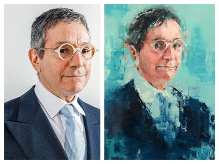 With Discerning Eyes (Jeffrey Deitch) (actual painting only based on a photograph), oil on wood, 18x24, 2017