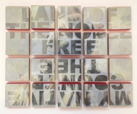 "2. April Banks, My Country 'Tis For Thee, encaustic and paper on wood panel, 22x17.5 (20, 4""x4"" wood panels), 2017"
