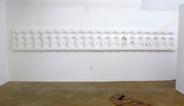 5a. Possession is Nine-Tenths, plaster sculpture installation, (day view), 18'-4x28, 2011