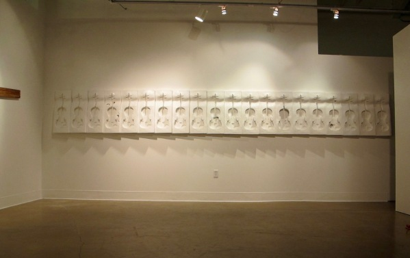 5b. Possession is Nine-Tenths, plaster sculpture installation, (nite view), 18'-4x28, 2011