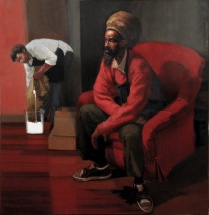 In the Cafe, oil on canvas, 63x63 inches, 2007