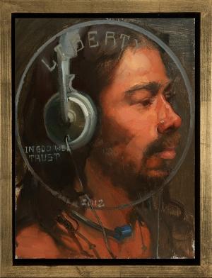 Samir (Currency series), oil on wood, 11x14, 2012