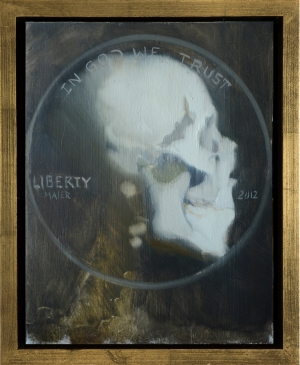 Skull facing-right (Currency series), oil on wood, 11x14, 2012