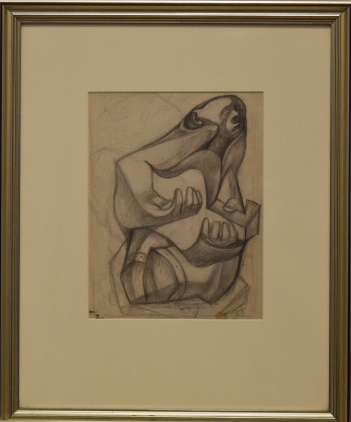 Charles White, Musician with Guitar, graphite on paper, 10x8, 1940