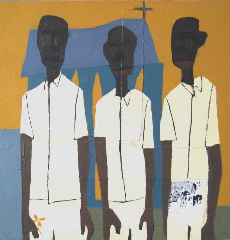 Francks François Deceus, Church Boys (Everyday People Series), mixed media on canvas, 24x24, 2001