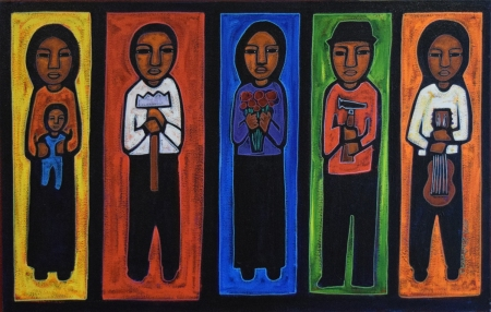 Jose Ramirez, Workers, acrylic on canvas, 25x39, 2000