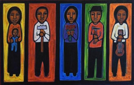 Jose Ramirez, Workers, acrylic on canvas, 25x39, 2000