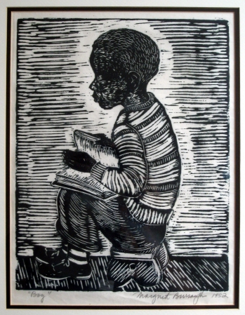 Margaret Burroughs, Boy, linoleum cut, 12x16, 1952
