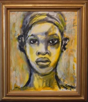 Toni Scott, Untitled (YellowBlack girl), oil on canvas, 20x24, 2002