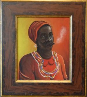 Unknown (Cuban Artist), Untitled (Smoking Woman), acrylic on canvas, (17x15 framed)