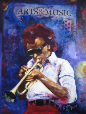Bryan Lee Tilford, Arts & Music, acrylic & mixed media on canvas board, 18x24, 2007