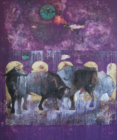 Chris Neal, Bulls in a Bath House #2, mixed media on canvas, 72x60, 2003