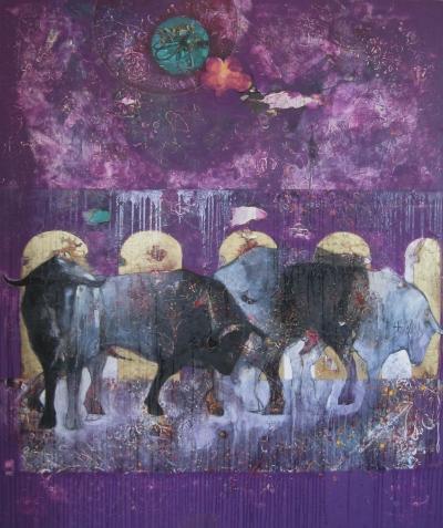 Chris Neal, Bulls in a Bath House #2, mixed media on canvas, 72x60, 2003