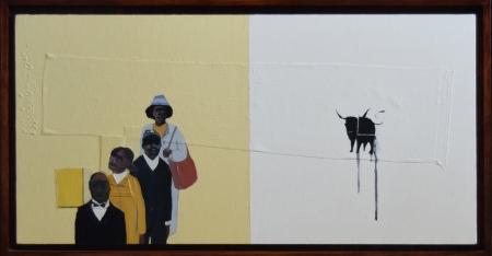 Francks François Deceus, Working 9-5, mixed media on canvas, 15x30, 2005