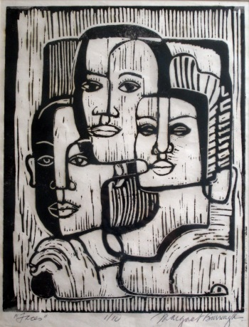 Margaret Burroughs, Faces (of My People), 1of10 linoleum cut, 21.5x25, c. 1950