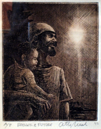 Otto Neal, Father & Future, etching AP, 5x6, 1972