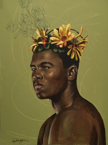 Charly Palmer, ALI Butterflies and Bees, acrylic on canvas, 40x30, 2019, $8000