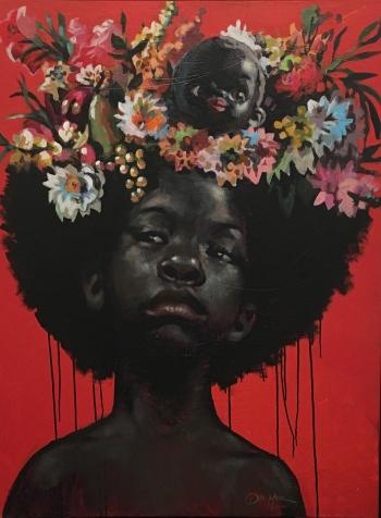 Charly Palmer, Hidden, acrylic on canvas, 48x36, 2019, $11,000